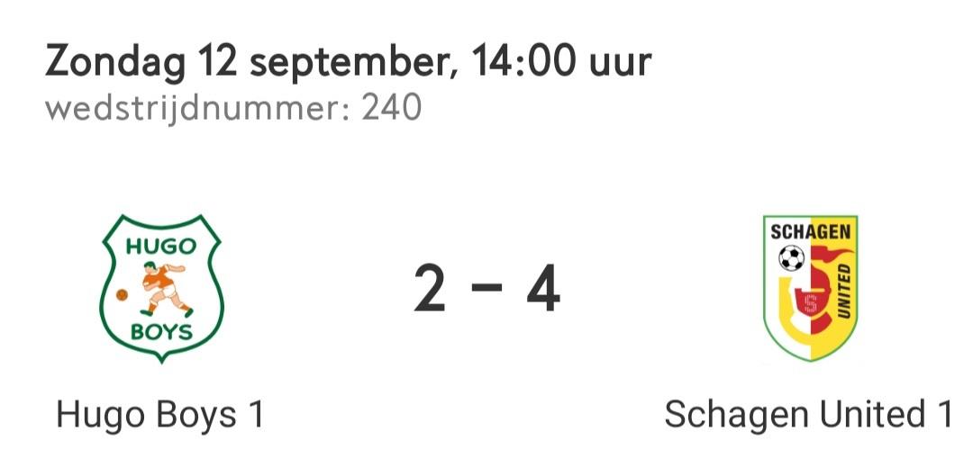 Schagen United ook te sterk voor Hugo Boys.