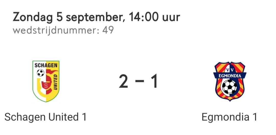 Schagen United ook deze bekerwedstrijd te sterk voor Egmondia