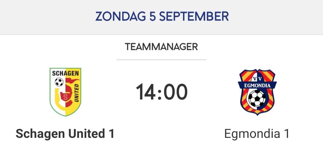 Schagen United voor districtsbeker wederom tegen Egmondia.